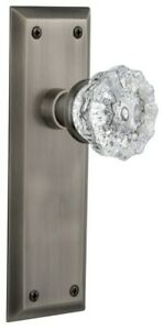Nostalgic Warehouse NYKCRY_PRV_238_NK Crystal Solid Brass Privacy - Pewter