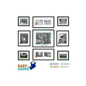 9-Piece Photo Frame Kit, Black, Wall Display Picture Frames. Gift for Holidays