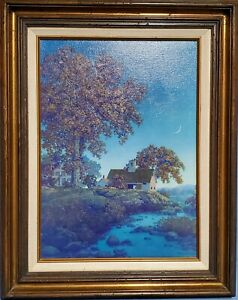 Maxfield Parrish Framed Painting New Moon 1957 Limited Edition Reproduction