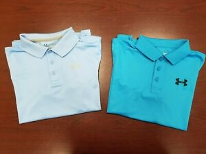 Lot of 2 Boy's UNDER ARMOUR Blue Short Sleeve Polo Shirts Golf Size Youth XL