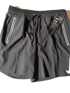 Large NWT NIKE FLEX MEN'S RUNNING SHORTS AJ7767 010 BLACK DRI-FIT REFLECTIVE