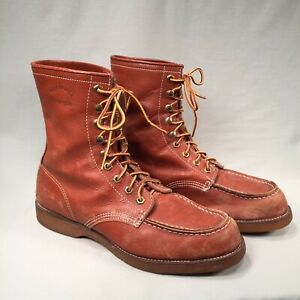 VINTAGE MOC TOE GEORGIA WORK BOOTS w NEOPRENE SOLE 8½ 8.5 tan red brown gold