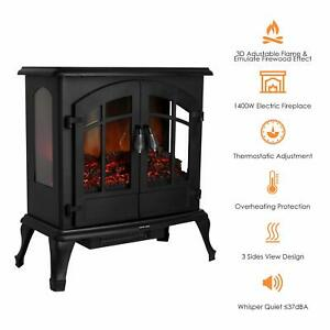 Electric Wood Fireplace Stove Realistic Flame Heater 750-1500W Freestanding New
