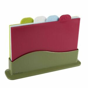 Plastic Cutting Board Set 4 Color Coded Boards Dual Sided FDA Approved