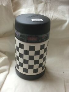* NEW *Thermos Funtainer 16 Oz Food Jar * Checkered Black w/ Metal Spoon