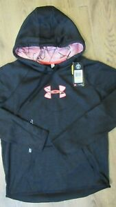New Under Armour Womens Icon Caliber Fleece Hoodie 1286058 Black Size M $28.00