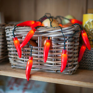 20 Red Chili Pepper Battery Operated LED String Lights Fiesta Party Decoration