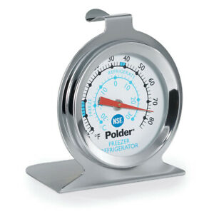 Polder THM 560N Refrigerator Freezer Thermometer Stainless Steel $8.49