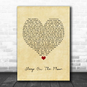 Sleep On The Floor Vintage Heart Song Lyric Quote Music Print