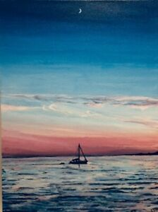 Seascape Original Painting by K. Walters : quot; Boat and Moon: Grand Marais MNquot; $225.00