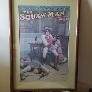 The Squaw Man c1905 Theatrical Production Rare Antique Chromolithograph Poster