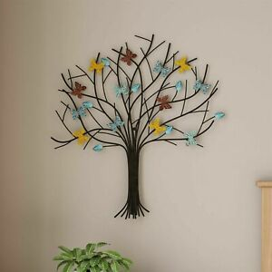 Metal Tree of Life Wall Decor Painted 23 x 25 In Hanging Sculpture Butterflies $26.99