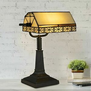 Bankers Lamp Tiffany Table Desk Lamp Stained Glass Vintage Look Mission Style