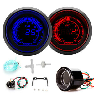 252mm Blue Red Turbo Boost Vacuum Car Digital LED Gauge Meter Tint Len Psi Inhg