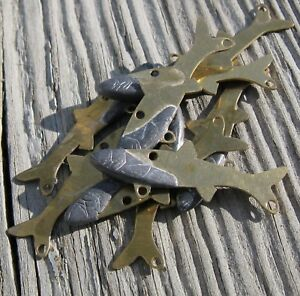 Brass Forage Blade Minnows DIY Tackle Lot of 25 Small Size Unpainted