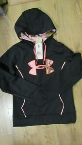New Under Armour Womens UA Storm Caliber Hoodie 1247106 Black Pink Small $28.00