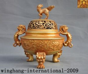 China purple bronze 24k gold Gilt lion beast Dragon qilin Incense burner Censer