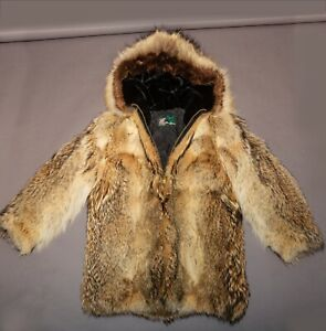 Coyote Fur Coat Vintage Genuine BEAUTIFUL REAL ALASKAN FUR Medium Mens