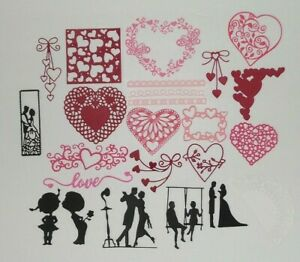 23 Valentines Day Die Cuts, Heart, Couple, Wedding, Love, Borders