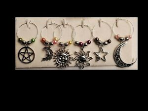 Set of 6 Heavenly Wine Glass Charms Pendant Drink Markers - Moon