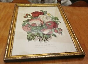 Antique 1870 Currier & Ives Hand-Colored Lithograph Roses of May 19x13 Frame