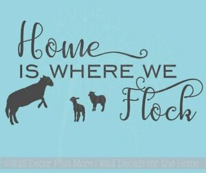 Home is Where We Flock  Sheep Wall Sticker Vinyl Lettering Art Decor Quote