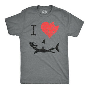 I Love Sharks T Shirt Daddy Shark Funny Graphic Tee Gift for Dad Vintage Tee $13.59