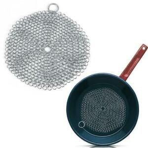 Stainless Steel Cast Iron Cleaner Chain Mail Scrubber Cookware Tool Kitchen X4P0