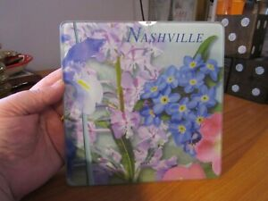 Nashville Small Glass Square Cutting Cheese Board Flowers $14.99