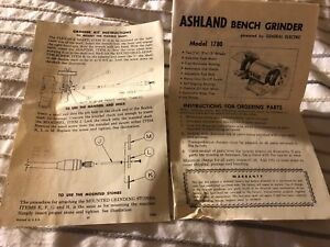 Ashland Bench Grinder Model 1780 Operating Instructions  Parts List FREE SHIP
