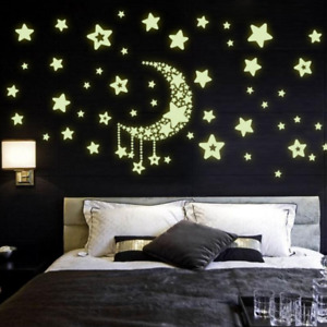 Moon Star Fluorescence Noctilucent Night Glow In Dark Luminous Wall Stickers