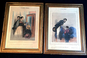 Pair Antique French Lithographs