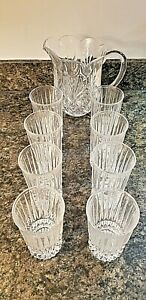 Vintage Lead Crystal Pitcher and Set of 8 Glasses **VERY NICE**