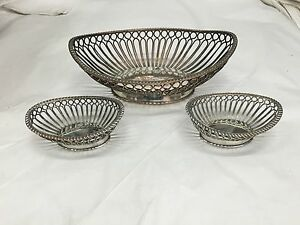 Three Antique Baskets IN Old Sheffield Plate About 1830 Antique Basket $300.92