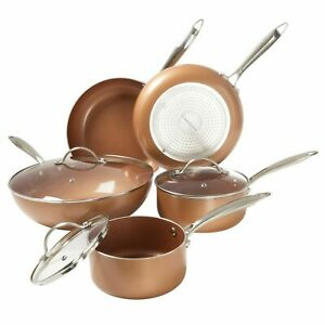 8 Pc Cookware Set 2 Layer Ceramic Non Stick Coating Copper Finish Induction $74.99
