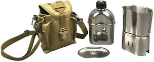 Camping Stove Canteen Combo Cookware Set Stainless Steel Kit Fabric Carry Pouch