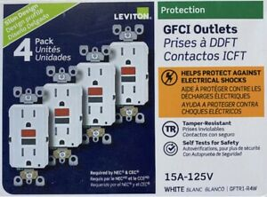 LEVITON GFTR1 R4W GFI GFCI 15A TAMPER RESISTANT WHITE 4 PACK NEW $27.75