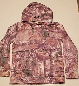 UNDER ARMOUR Storm1 Realtree Camo Hoodie Sweatshirt , Boys Medium YMD PreOwned $13.50