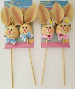 "Colorful Burlap Easter Bunny Picks 12"" Easter Crafts Select Type $4.99"