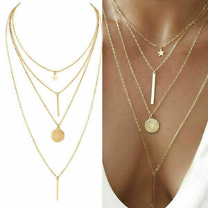 NEW Women Crystal Multi Layer Choker Collar Pendant Chain Necklace Jewelry Gold $4.39