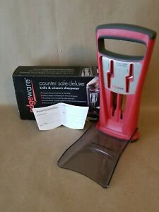 NIB EdgeWare Counter Safe Deluxe Pull Through Knife And Scissor Sharpener Red