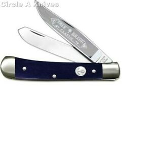 BOKER KNIFE LIMITED EDITION SMOOTH BLUE BONE TRAPPER #2525SBL MADE IN GERMANY