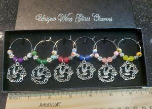 SET OF 6 HUMMINGBIRD WITH FLOWER WINE GLASS CHARMS PENDANT DRINK MARKERS