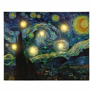 LED Lighted Starry Night Light Up Canvas Wall Art 12 x 16 Inches Timer Battery $16.99