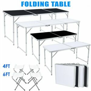 4 6FT Folding Table Portable Outdoor Picnic Party Dining Camp+4/6 Folding Chairs