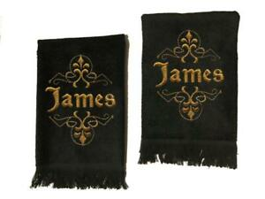 Men#x27;s Black Personalized Embroidered Cotton Terry Hand Towel