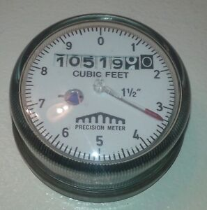 PRECISION METER WATER METER GAUGE CUBIC FEET 1 1 2quot; SteamPunk art use maybe $22.00