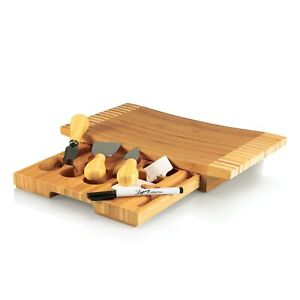 Legacy by Picnic Time Cutting Board with Cheese Tools Bamboo Stainless Concavo