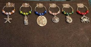 SET OF 6 OCEAN & BEACH WINE GLASS CHARMS PENDANT DRINK MARKERS