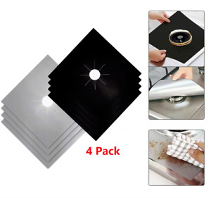 4-Pack Square Gas Stove Burner Covers Reusable Nonstick Top Protector Liners